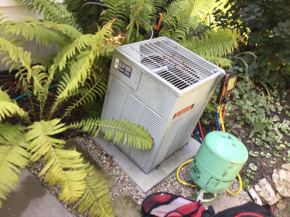 2004 trane air conditioner. System low on r22. Found leaks in 2 spot on the evaporator coil. Went over options on page hj1 and hl1. Also discussed replacement. Customer decided to go forward with estimate. Jamie scheduled today between 1-2 pm. Chose hj1 for temp cooling. Charged system to 20 degrees superheat. Temp drop is 18 degrees. All okay at this time.