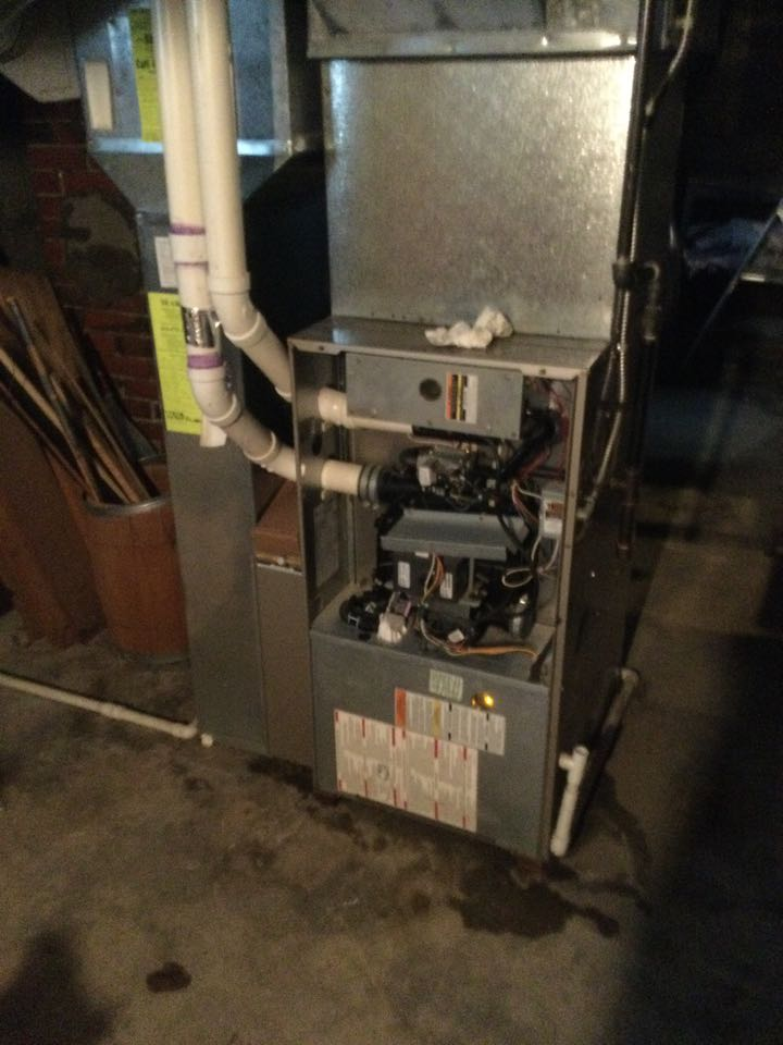 Furnace inspection including cleaning unit, checking electrical connections and combustion analysis to ensure safety. Unit failed combustion test and we will replace unit on Wednesday.