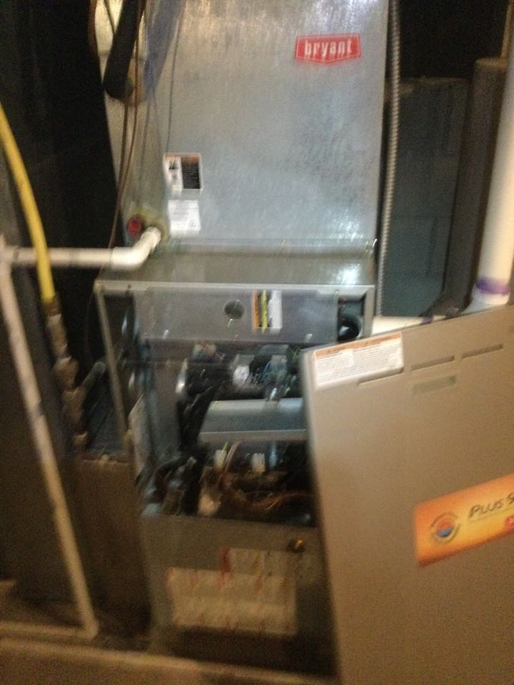 Westerville, OH - Furnace inspection including cleaning unit, checking electrical connections and combustion analysis to ensure safety.
