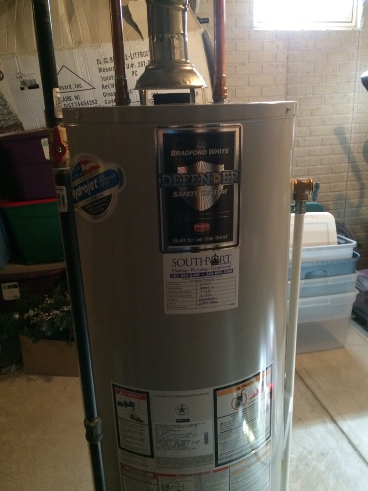 Kenosha, WI - Install 50 gallon standard vent water heater. Replace plugged  furnace condensate drain tubing.