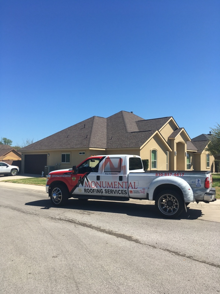 Seguin, TX - This is the finished product of a lifetime warranty Owens Corning duration roof with high profile ridge cap roof replacement was 55 squares