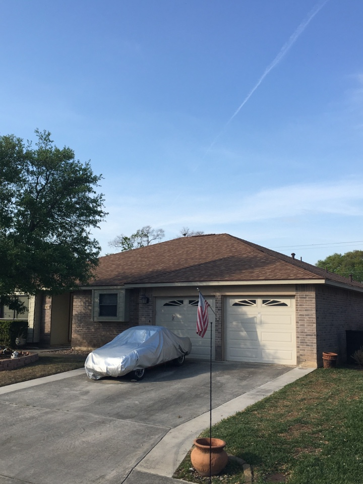 San Antonio, TX - We have completed the roof replacement we have some facia and soffit replacement we are doing the siding install trim around the windows tinted paint all decided to say shit soffit we put up as well as install seamless gutters so we're right around the corner to finish this job by 75%