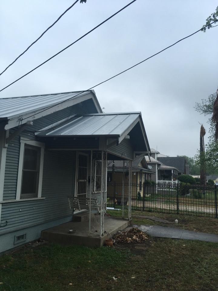 San Antonio, TX - We are removing this old standing seam metal panels and we are going to replace it with new 24 gauge standing seam Galva loom 1 inch striation we're also doing facia repair on this job. We are 90% complete , the rain delayed us .