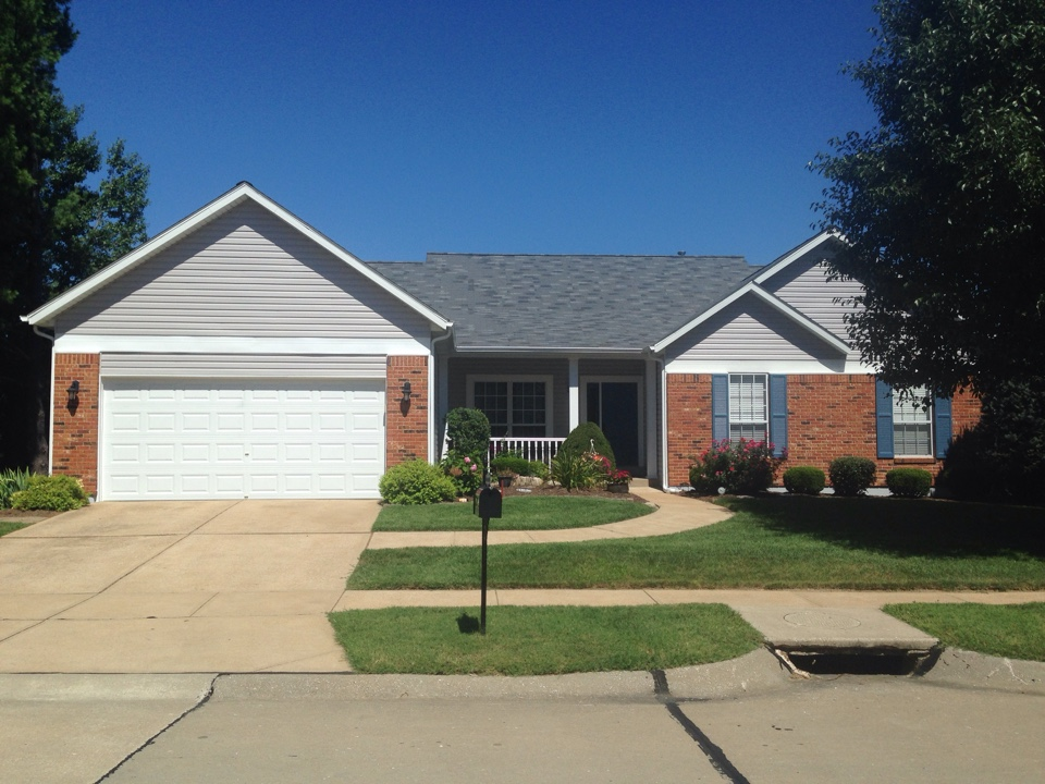 "Ballwin, MO - A home in Ballwin, MO recently resided by XteriorPRO using Mastic CarvedWood Double 4.5"" vinyl siding."