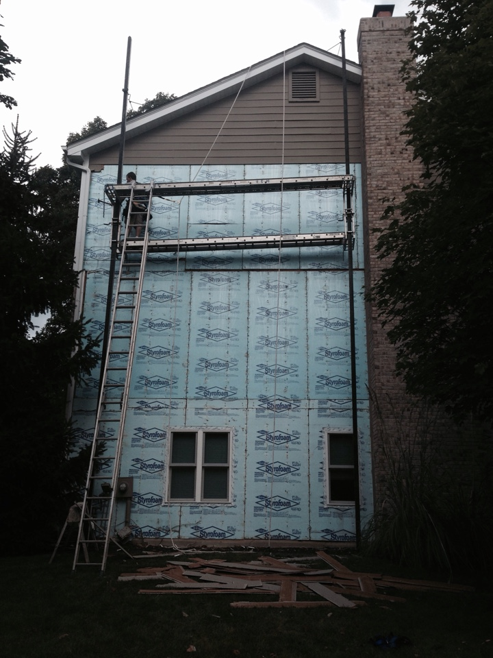 Wildwood, MO - Beginning another James Hardie Fiber Cement siding job in Wildwood.  Color will be Khaki Brown