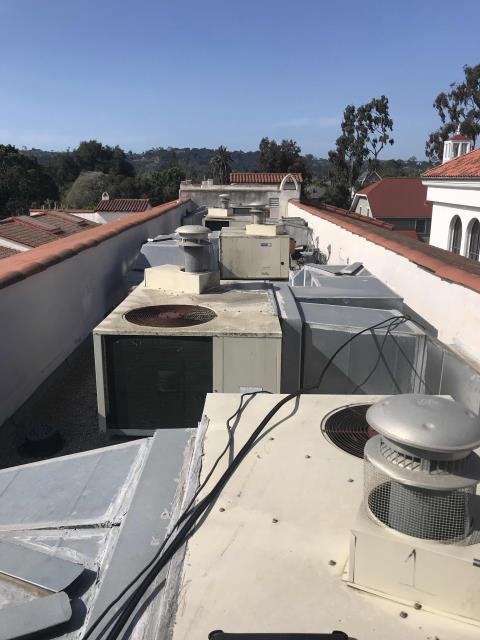 Our RESSAC technician arrived at a school in Santa Barbara, California, to survey all the commercial air conditioning equipment on site. Met with customer to discuss site needs, then inspected entire property. Gathered unit data for all air handlers, condensers and package units. Uploaded all asset information into service trade including air filter list. Visually inspected all units and found AHU #4 with a defective blower motor. Marked issue as a deficiency to quote. Survey is completed, will provide maintenance proposal for customer.