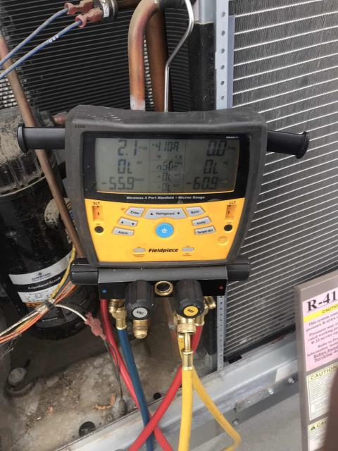 Santa Maria, CA - A bank in Santa Maria California reported that their AC was down. Our technician arrived onsite and found a commercial York air conditioner was down due to low pressure lockout. Will need to quote a refrigerant leak search and repair on the system.
