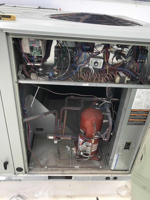 Oxnard, CA - Quoted HVAC repairs were scheduled for our commercial customer in Oxnard CA. Two of their Trane air conditioners had cracked crankcase heaters that needed replacement. After removing the old heaters and installing the new parts, the technician tested and cycled both units. Systems are both operational. working on cooling and heating. EMS shows no alarms on other units.