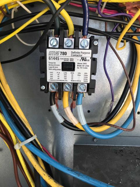 Approved HVAC repairs found on the last PM were scheduled for a clothing store in Culver City California. One Carrier air conditioner had a pitted contactor, and a second unit had a worn belt. After replacing the contactor and the belt, the technician tested and ran the systems. Both units running normally, no more issues to report.