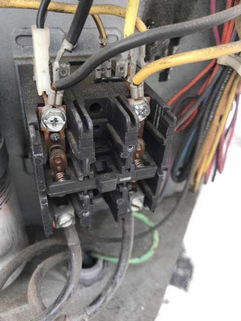 Los Angeles, CA - A coffee shop on Sunset Blvd in LA reported that their AC had been down for several weeks. Arrived for a second opinion inspection, found that the unit was off and the circuit breaker was tripped for the condenser. Further troubleshooting found the capacitor failing and a dirty condenser coil. Also found a pitted contactor that was sticking.  Will quote necessary repairs to the customer, cleaning for condenser coils should also be considered.