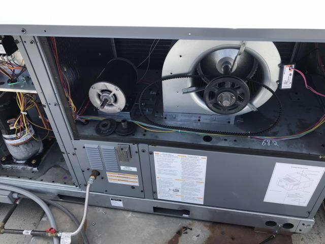 Dispatched our Visalia CA area technician for a no cooling call at one of our regular commercial customers. Found that the pulley had come off their Goodman air conditioner, causing the compressor and evaporator  to ice up as the blower wasn't running. Repaired the pulley, adjusted the belt and de-iced the system. Unit is back up and running again and site is cooling down.