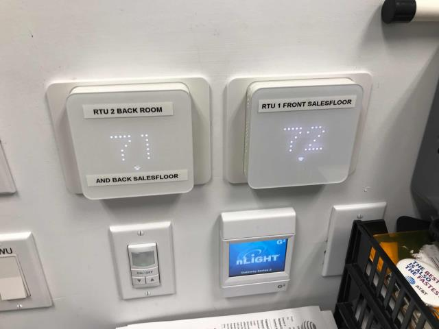 A cell phone store in El Monte California put in an urgent call for their AC not cooling. Our commercial HVAC tech found that there are multiple thermostats, standard and ZEN brand. He called in to tech support to troubleshoot but was not able to reach them after several calls and messages. Will return during standard business hours and continue troubleshooting.