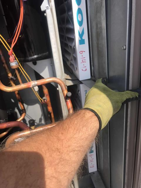 Preventative air conditioning maintenance scheduled for a commercial customer in Arcadia California. Two York systems onsite. Completed PM checklist, including filter swap, pressure check, coil washing. Both units operational, with 53/54 degree supplies. PM complete.