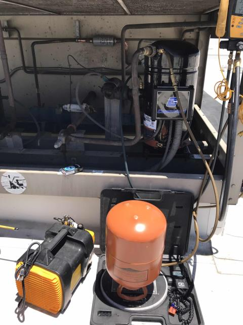 Our Riverside County HVAC technician returned to a grocery store with a second tech to replace a compressor on a McQuay unit. The two technicians removed the old compressor, replacing it and the liquid line dryer. Recharged the system with 43 pounds of refrigerant, filling out all appropriate refrigerant tracking forms. Cycled and tested the system, confirming unit #9 is operational again. Checked out over the phone with the customer, and onsite with the manager. Job complete.
