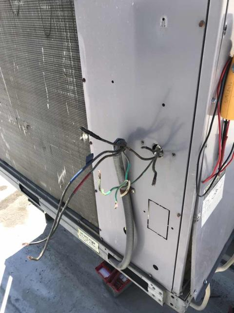 Dispatched our Merced California area HVAC technician to a commercial customer for approved work. Upon arrival, after checking in with the IVR, mall management and store manager, our technician proceeded to the roof to replace the disconnect on a commercial Carrier system. Spliced and replaced damaged wiring, wired in disconnected. Powered up the unit and tested. System providing a 30* split despite high heat-load in store. Job complete.