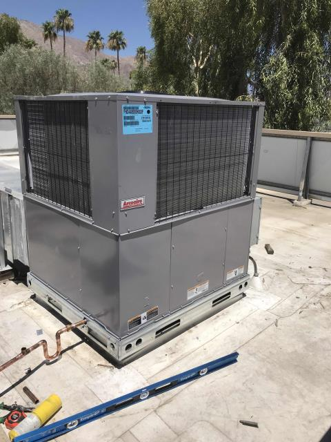 A commercial customer in Palm Springs CA was scheduled for a new air conditioner installation today. Met with crane company onsite, lifted off old unit and place new system on the roof. Completed installation by sealing supply and returns, hooking up all electrical, drain lines. Tested and ran unit after installing, system working well and no issues to report. Permit process to complete.