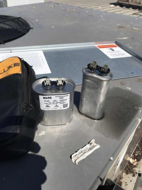 Fresno, CA - Received a no cooling call from a customer in Fresno California. Our commercial HVAC technician found the compressor overheated due to a bad blower run capacitor. Cooled down the compressor, sourced and replaced the blower run capacitor. After cycling the unit and testing all components, he confirmed the unit is operational again, no more issues to report.