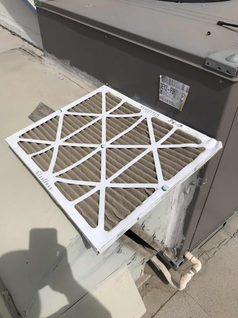 Dispatched our Kern County HVAC technician to a landscaping company to address their office AC that was leaking. He discovered the AC filter in the unit was completely plugged. Removed clogged air filter, washed coils and tested system. Found the condenser fan motor over-amping, recommend replacing the fan motor before it fails.