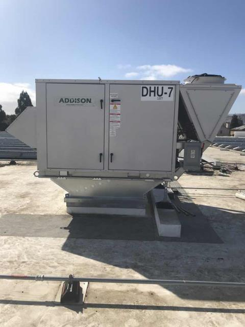 New HVAC installation scheduled at a commercial property in Hollister California today. Lift scheduled today to remove existing equipment and set new units. Completed all connections including gas, electrical and refrigerant lines. Will return tomorrow AM to complete installation and setup of communication systems and sensors.