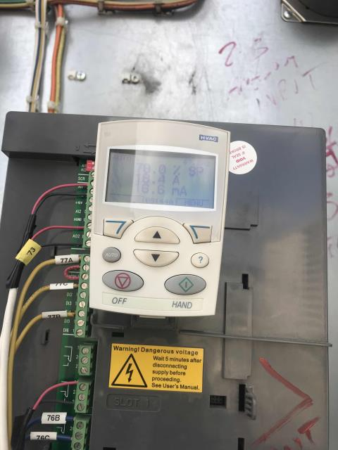 """A clothing store on Beverly Boulevard in Los Angeles CA reported no AC in the men's area. Our technician arrived and found unit #2 with the controls switched off. Restarted controls, found VFD drive set to """"hand mode"""", and wouldn't turn on when interrupted. Called tech support, walked through settings, rewired signal from relay to compressor and tested. Unit is working well again."""