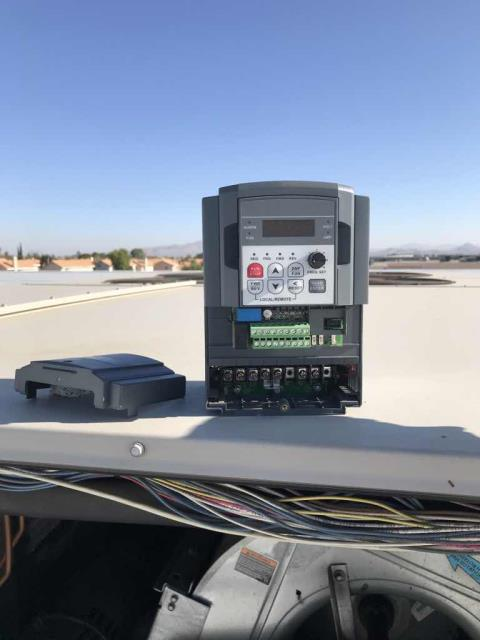 Returned to a commercial property in Victorville CA to replace a VFD on the #4 Lennox unit. After wiring in new part, tested all operations and called into EMS to confirm there were no alarms visible on any other air conditioners. Job complete.