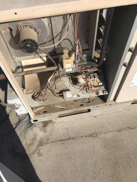A lender in Tulare CA reported that the A/C for the whole building was down. After checking in with the manager, our tech inspected the York unit and found the blower and capacitor had failed. Will source parts and quote necessary repairs to the customer.