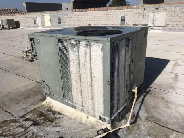 Dispatched our Santa Clarita California a/c repair tech to a health food store to pressure wash their condenser coils. The systems had been found with dirty coils on their last maintenance visit. Our tech gave each unit a thorough cleaning with biodegradable foaming cleanser, rinsing off the units and confirming that pressures and airflow were at acceptable levels again.