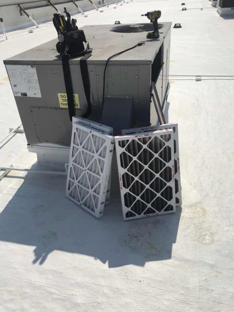 3rd Quarter HVAC/R PM dispatched for a health food store in Los Angeles CA. All filters were changed on the HVAC units and heating inspection completed. All freezers onsite inspected for proper operations. Units operational but did find several freezers with missing light covers and burnt bulbs. Will quote out to customer.