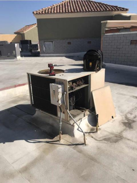 A customer in Anaheim CA reported that their AC unit was making a horrible noise. Sent our local technician to inspect the system, who found the condenser fan motor was failing and squealing. Unit is old and in overall poor condition, customer may consider full replacement over continued repairs.