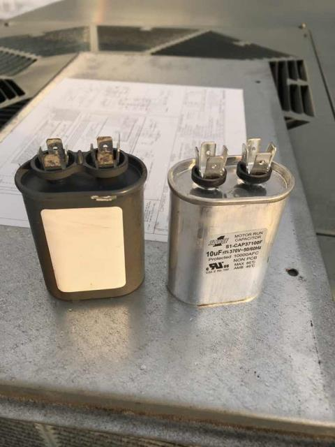 Dispatched our Marina California A/C technician to a loan shop where the heater had stopped working. The thermostat onsite was set to 96 degrees but the space was still measuring 70. On the roof, our tech found that the run capacitor had failed causing the blower motor to stop working. Replaced the capacitor. The motor is working again but may need to be replaced in the future. Heat operational.