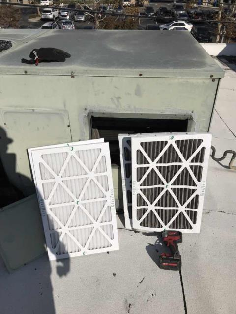 Dispatched our Burbank CA area technician to a commercial property for their 4th quarter A/C maintenance. He replaced all air filters, dating the new ones and disposing of the old medium. All units operating in heating and cooling, but do recommend a coil wash.