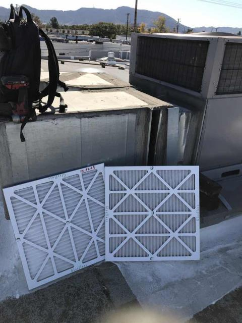 Winter heating and cooling maintenance scheduled today for an office building in Burbank, California. Standard minor inspection performed, with all air filters swapped out and components visually inspected. All units running as expected upon departure, PM complete.