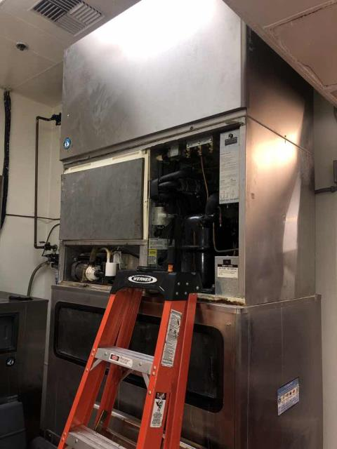 Our San Bernardino refrigeration technician arrived at a restaurant to inspect their cube ice machine. Our technician found the unit alarming due to extended harvest. He found that the system was blocked, not allowing ice to fall. Cleared the blockage, ran the unit through 2 cycles and confirmed system is operational again.
