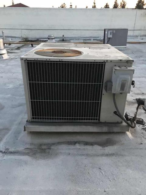 Los Angeles, CA - Sent a technician to a chiropractors office to perform regularly scheduled HVAC maintenance. Full winter services performed. While performing services, our technician found that the crankcase heater needs to be replaced, and that the drain line had cracked at the connection to the pan. Both the condenser and blower motors are overheating, and the fan motor is very loud. This is an older unit, and the customer may consider replacing it due to changes in refrigerant requires in 2020, and overall condition of system. Unit is off at the disconnect for safety.