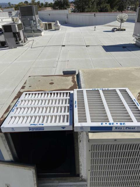 Winter maintenance performed at a health center in Redlands, CA, for both their HVAC and refrigeration equipment. Our technician inspected all commercial units, replacing filters on the air conditioners and confirming all freezers were operational. One A/C unit will need a new condenser fan motor, and one of their freezers has a ripped door gasket that will need to be replaced. Quotes to follow for necessary repairs.