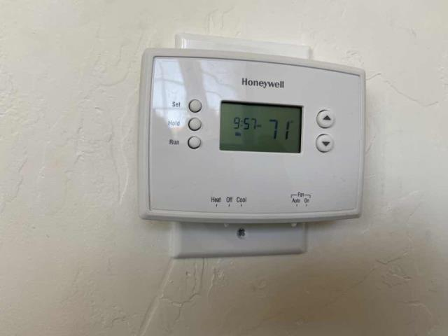 Received a service request for thermostat at a bank in Santa Barbara, California. Our commercial technician inspected the conference room unit, finding the system operational but the thermostat blank. Traced a short in the low voltage wiring. Replaced the wiring and reset the thermostat programming. Job complete.
