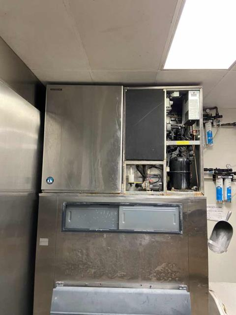 A restaurant in Corona, CA, reported one of their ice machines was not working. Our refrigeration tech arrived and was told both ice machines were not working well. He inspected both Hoshizaki systems, finding one evaporator iced over and a second machine that was off due to constant beeping. Turned off 1B to let it thaw, and found 1A low on refrigerant. Performed basic leak search and was unable to find the leak. Will need to return and complete a full leak test and additional diagnose on both ice machines.