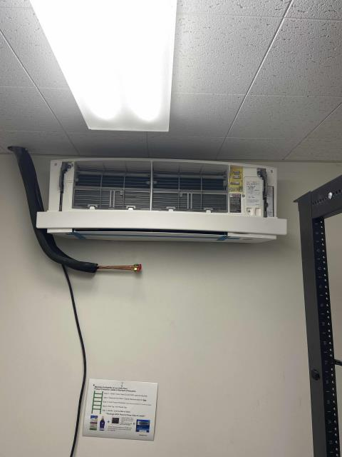 Dispatched our technician back to a pharmacy in San Jose, California, to continue installation work on a new split system. Condensing unit was lifted onto roof, and both evaporators mounted. Communication wires installed. Line set will need to be completed and pumps installed. Return work scheduled.