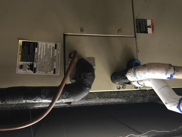 Responded to an emergency water leak call for a major retailer in Poway, CA. Found a cracked evaporator drain pan.