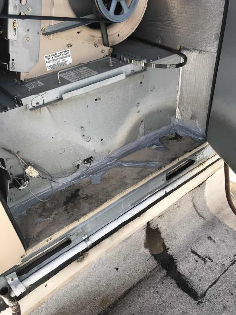 Chula Vista, CA - RESSAC HVAC tech responded to call for service at a retail store in Chula Vista, California to repair a leaking HVAC unit. He put water on the unit to see if there were any leaks inside the store, none were found. He put duct sealant around the unit and cracks to prevent any future leaks.