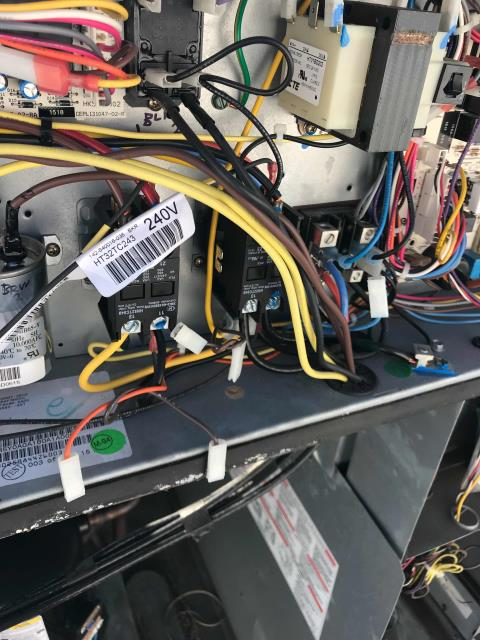 Our RESSAC HVAC technician responded to an emergency request for a coffee shop too warm and thermostat blank in Torrance, California.  He found the 10 ton ICP unit off with wiring disconnected inside. He reconnected the wiring and traced problem to a lack of 24 volts going to the VFD controller. VFD board will need to be replaced. Left blower motor on for airflow to the store, quoting needed repairs to the customer.