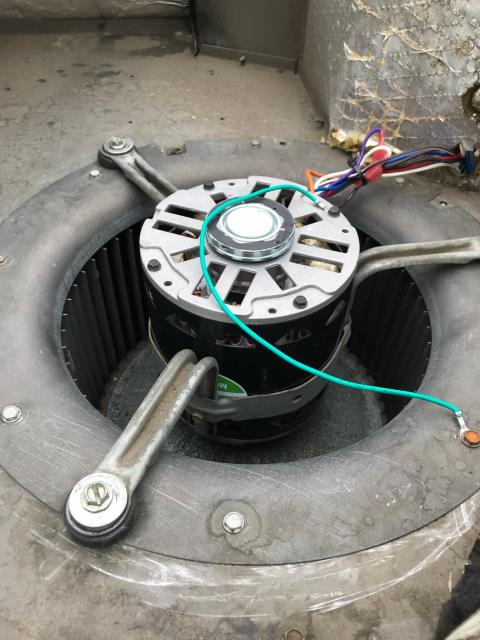 AC repair tech returned to complete approved work at a cell phone provider in Citrus Heights, California. The technician replaced the previously diagnosed burnt out blower motor and a run capacitor. Tested and confirmed operations normal. Site cooling and unit OK again.
