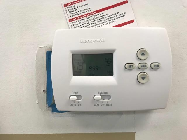 Fresno, CA - RESSAC tech received a request to replace an obsolete EMS thermostat with a standard, manual thermostat in Fresno county. Arrived at insurance business, removed existing stat and replaced with a simpler Honeywell thermostat. Set to 72 degree cooling, site up and running.