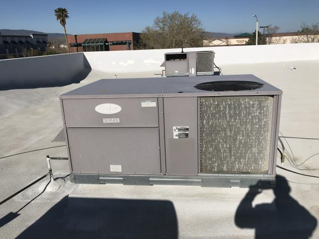 Palmdale, CA - An HVAC survey was requested at a Palmdale, CA, money lender. The AC technician inspected all equipment onsite, finding two Carrier package units. Equipment was 15+ years old, in fair condition but operational. Coils in poor shape. Noted all data-plates and uploaded for main office to quote preventative maintenance services per customer request.