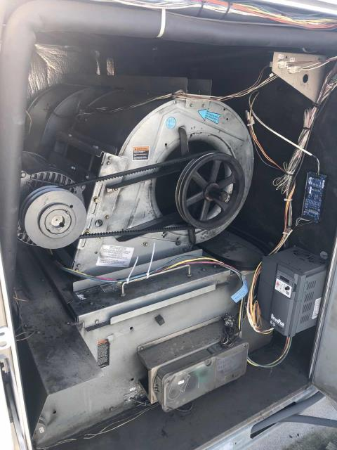 Los Angeles, CA - AC repair tech arrived at a home goods store in Encino, CA, to complete approved repairs. Lennox unit #3 had its failed blower assembly removed, entire assembly replaced including motor, pulley, belts. System tested after repairs made, unit working well. No other problems to report.