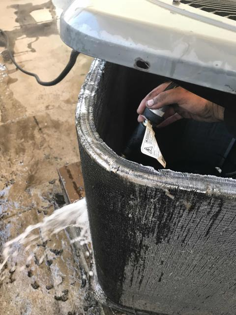 San Diego, CA - Jewelry store in San Diego county requested immediate service for a water leak onsite. Tech arrived and searched for leak, unable to find any source of water from HVAC equipment. Did receive onsite approval to thoroughly clean condenser coils, as unit had shut off due to lack of airflow.