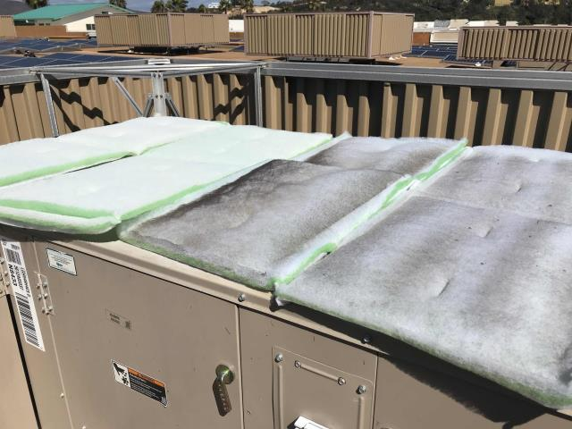Encinitas, CA - April a/c PM scheduled for a baby supply store in Encinitas, California. The technician changed filters and belts, checked performance and tested operations. Units in good working conditioning and no problems to report.
