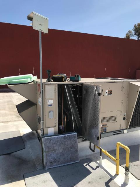 Irvine, CA - Irvine, CA, commercial HVAC technician dispatched to a specialty import store for spring maintenance. The tech changed filters, belts, tested pressures and inspected all equipment. Found Lennox units #1 and #2 low on refrigerant. Will quote for repairs and send to customer.