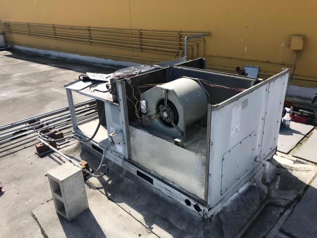 RESSAC installation team dispatched to a Pinole, CA, supplement store to replace the old Carrier package air conditioner. Crane lift removed existing system, loaded new onto platform. Reconnected, charged, and tested new unit. Working well, no issues to report.