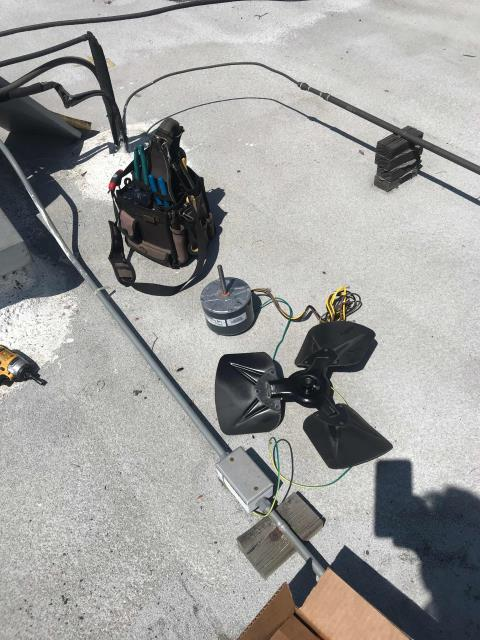Pasadena, CA - HVAC repair man returned to an office building in Pasadena, California, to complete approved repairs. The Carrier minisplit needed the fan motor replaced. Tech also washed the condenser coil. Tested and ran unit after repairs, working well now.